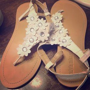 White Olivia Miller sandals